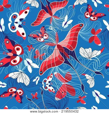 Seamless pattern of beautiful butterflies on a blue background