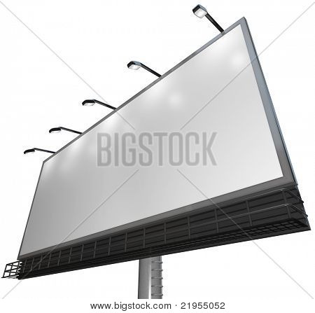 Blank white canvass on an outdoor billboard for you to advertise your product or service and attract new customers poster