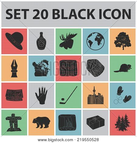 Country Canada black icons in set collection for design. Canada and landmark vector symbol stock  illustration.