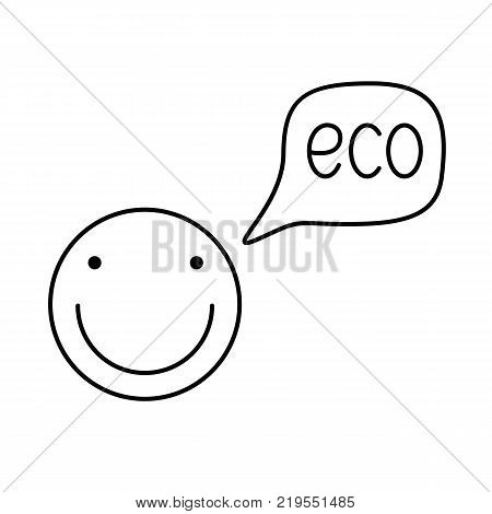 Smiley talks about environmental. Icon eco smile illustration for print. Illustration for environmentally friendly products. Vector illustration Isolated on white background