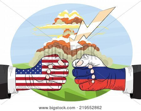 Nuclear explosion. Russia vs America. Symbol of nuclear war. Vector illustration