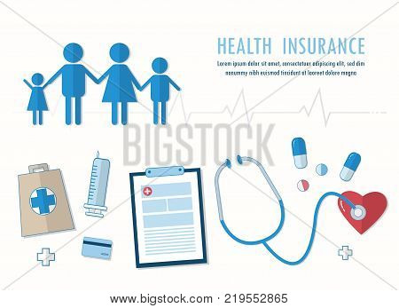 Health insurance banner. Health care concept. Vector flat line illustration.