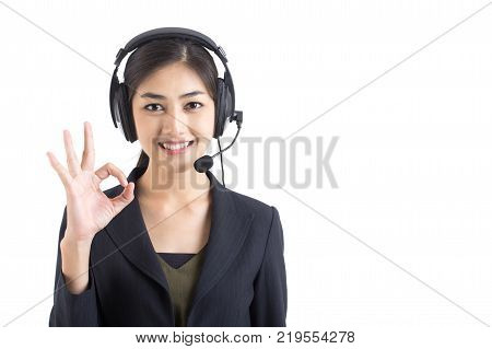 Asian Callcenter Woman Smiling Woman Stand And Smile Isolated On White Background Woman Working Conc