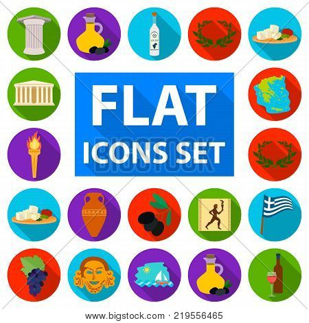 Country Greece flat icons in set collection for design.Greece and landmark vector symbol stock  illustration.