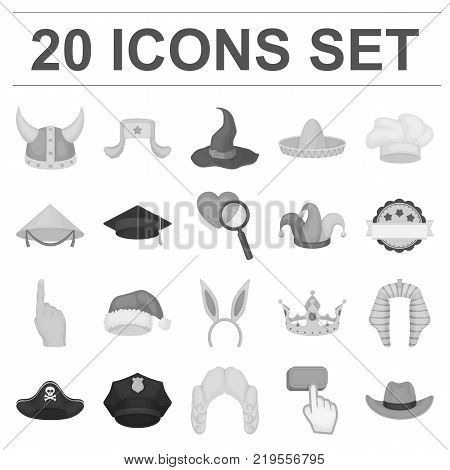 Different kinds of hats monochrome icons in set collection for design.Headdress vector symbol stock  illustration.
