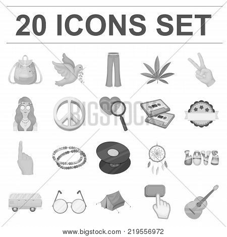 Happy and attribute monochrome icons in set collection for design. Happy and accessories vector symbol stock  illustration.