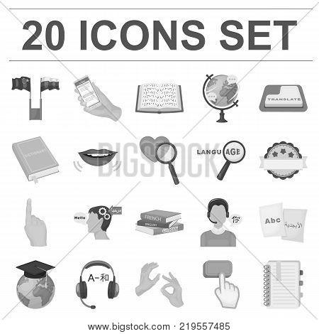 Translator and linguist monochrome icons in set collection for design. Interpreter vector symbol stock  illustration.