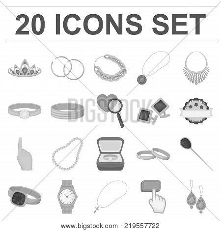 Jewelry and accessories monochrome icons in set collection for design.Decoration vector symbol stock  illustration.