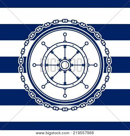 Sea Emblem on a Striped Marine Backgrounda Ship's Wheel in a Line Style Illustration
