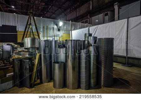 Steel cylindrical pipes, parts for construction of ducts of industrial air condition system.