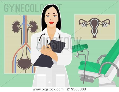 Gynecologist In Her Office Wating For A Patient. Vector Illustration In Flat Style. Beautiful Image