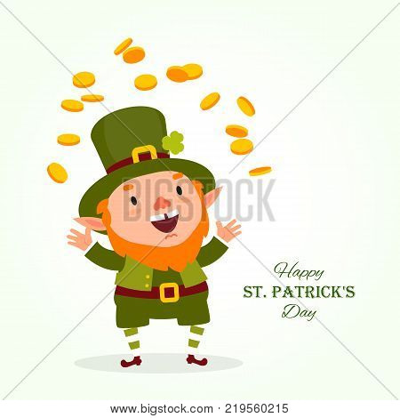 St.Patrick 's Day. Leprechaun the traditional national character of Irish folklore juggles with gold coins. Element of the set of leprechauns 02. Festive collection. Isolated on white background.