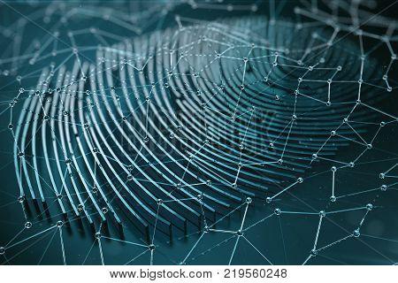 Fingerprint Scanning Identification System. Fingerprint scan provides security access with biometrics identification, 3D Rendering