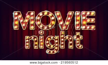 Movie Night Background Vector. Theatre Cinema Golden Illuminated Neon Light. For Theater, Cinematography Advertising Design. Illustration