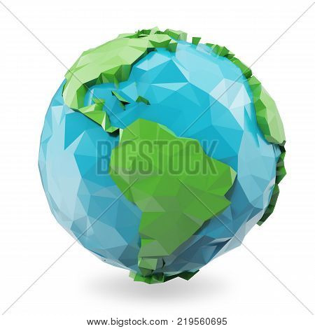 3d illustration Polygonal style illustration of earth. Low poly earth illustration. Polygonal globe icon