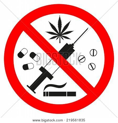 Vector illustration sign forbidden drugs on a white background