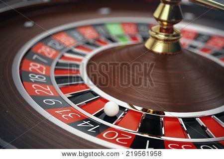 Las Vegas Casino Roulette 3D rendering concept. Casino Roulette Game. Casino Gambling Concept.