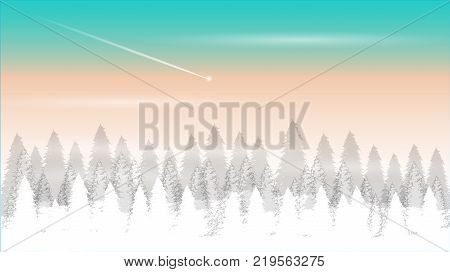 Christmas and New Year background. Decorated  with winter landscape, snowflakes, light, stars, fir tree , sky, Illustration.