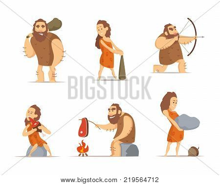 Characters of male and female. Primitive cave people from prehistoric period. Caveman prehistoric male and female, barbarian hunter. Vector illustration