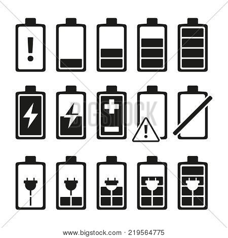 Monochrome pictures of smartphone battery in different levels of charging. Charge battery power for smartphone. Vector illustration