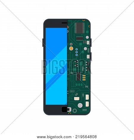 Illustration of electronic circuit of mobile phone or smartphone. Telephone circuit, gadget display touchscreen vector