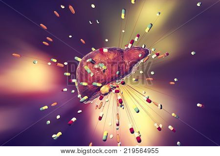 Conceptual image of drug-induced hepatotoxicity, 3D illustration