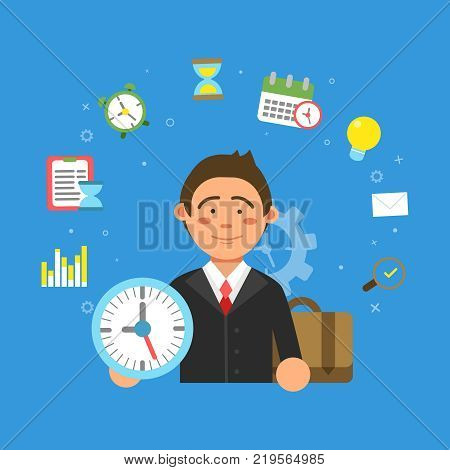 Businessman and different symbols of productivity and time management. Businessman management time and productivity. Vector illustration