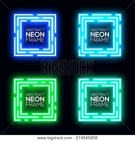 Neon light square banners set. Shining rectangle techno frame collection. Night club electric 3d banner on dark backdrop. Blue, green neon abstract background with glow. Technology vector illustration