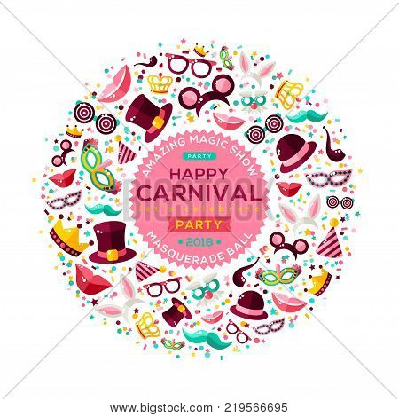 Carnival Concept Banner with carnaval Icons Isolated on white background. Vector Flat Illustration. Circle Frame or Emblem with template for your text. Photo Booth Party Elements.