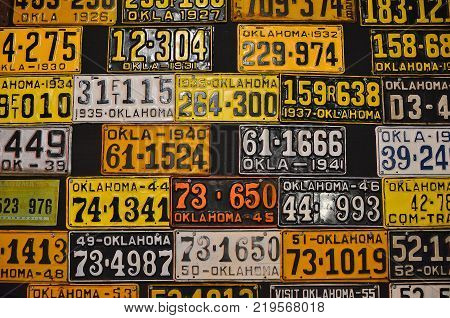 Various Old American License Plates.