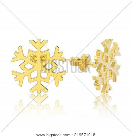 3D illustration isolated yellow gold snowflake stud earrings with reflection on a white background
