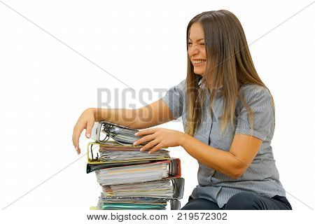 Boss give extra work to executor. A woman manager is happy to get additional work done. Woman with a big pile of files to work. Isolated on a white background