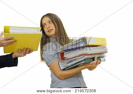 The boss gives pack of documents to busy manager. Boss give extra work to executor. Office worker receiving a lot of paper work. Isolated on a white background