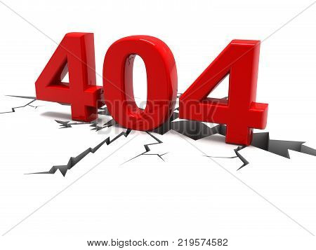 404 webpage error concept isolated on white background. 3d render