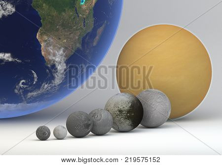 This image represents the comparison between the moons of Saturn in size and Eath. This is a precise comparison and scientific design in 3d rendering.