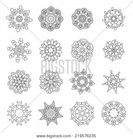 Christmas doodles. Snowflakes or Mandala icons. Winter ornaments for New Year greeting card or adult antistress coloring book page in zentangle style.