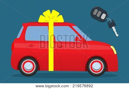 Cute Car With A Bow. Key With The Thumb. Car As A Gift. Vector Illustration.