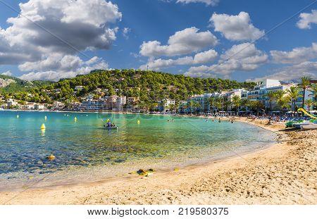View of Repic beach Porte de Soller Palma Mallorca Spain