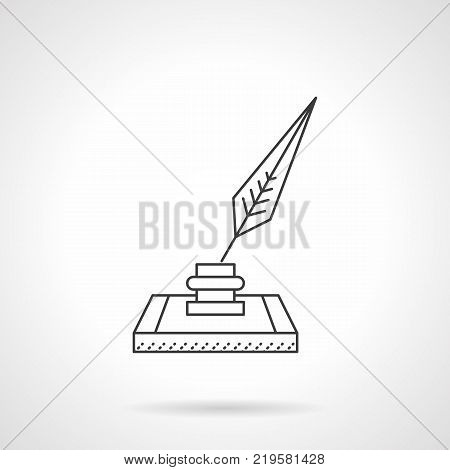 Symbol of nib or feather and ink bottle. Accessories for writing, calligraphy. Flat black line vector icon.