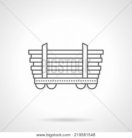 Symbol of platform car for long freights. Rail cars and railroad freight transportation of pipes, poles, timber. Flat black line vector icon.