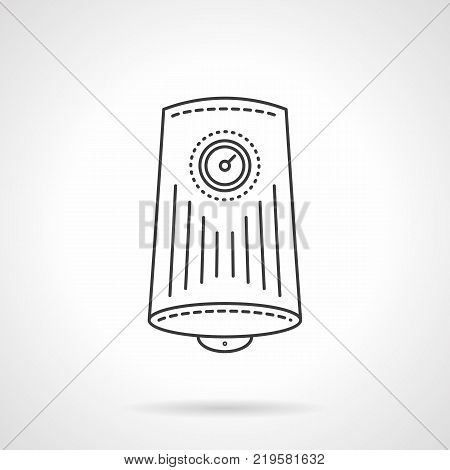 Symbol of water boiler. Cylinder tank with round display with arrow. Household appliances and heating equipment. Flat black line vector icon.
