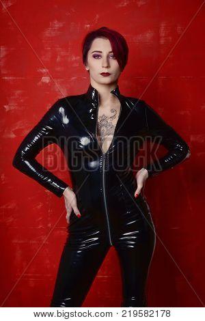 Beautiful Fetish Model In Latex Costume