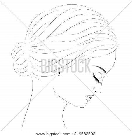 Sketch of a portrait of a girl in profile. Portrait of a beautiful young girl. The sad girl. Beautiful woman. The face is on the side. Black and white sketch of the face Girl with long eyelashes eps10