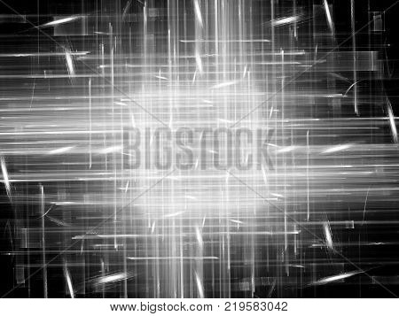 Glowing futuristic cpu texture black and white computer generated abstract background 3D rendering
