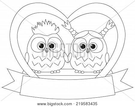 Black and white valentine day poster with an owl couple. Coloring book page for adults and kids. Valentine day romantic themed vector illustration for gift card, flyer, certificate or banner