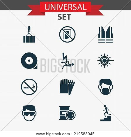 Protection icons set with lifesaver, lifting, risk and other cigarette forbidden elements. Isolated vector illustration protection icons.