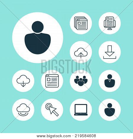 Internet icons set with user, download, transfer and other transfer elements. Isolated vector illustration internet icons.