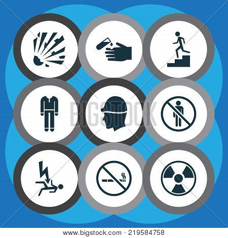 Protection icons set with uniform, headwear, bomb and other headwear elements. Isolated vector illustration protection icons.