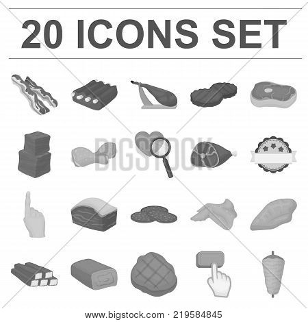 Different meat monochrome icons in set collection for design. Meat product vector symbol stock  illustration.