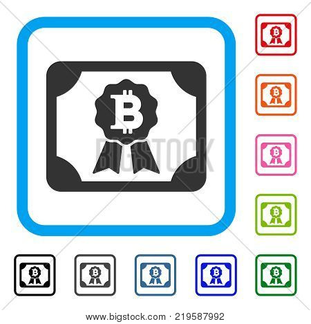Bitcoin Diploma icon. Flat gray pictogram symbol inside a blue rounded rectangular frame. Black, gray, green, blue, red, orange color variants of Bitcoin Diploma vector.